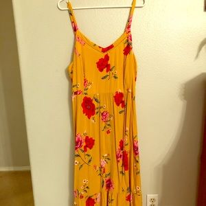 Old Navy Yellow and Red Floral Dress | Size XL